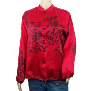 Chico's Design Asian Red Roses 100% Silk Blouse
